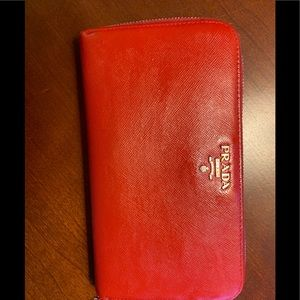 Prada Wallet Saffiano Leather zip around